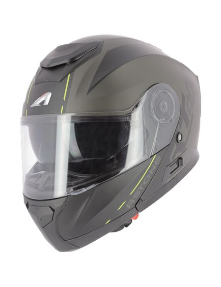 Casco modular astone rt900 stripe negro mate-fluo - RT900-STRIPE-BY