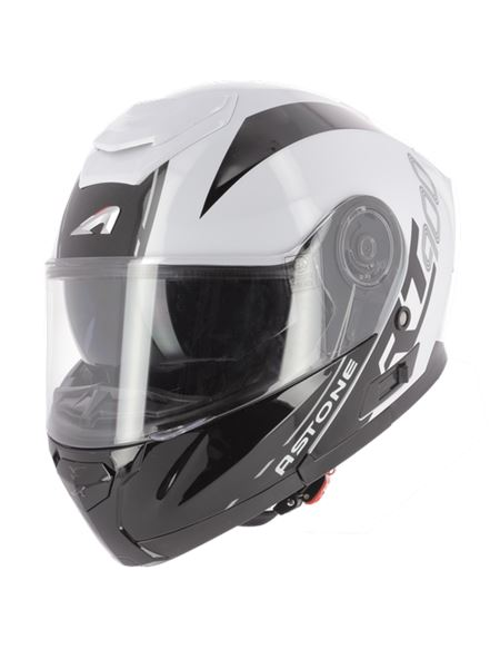Casco modular astone rt900 stripe blanco-negro - RT900-STRIPE-WB