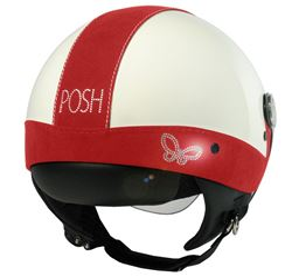 Casco max jet posh swaroski blanco-rojo