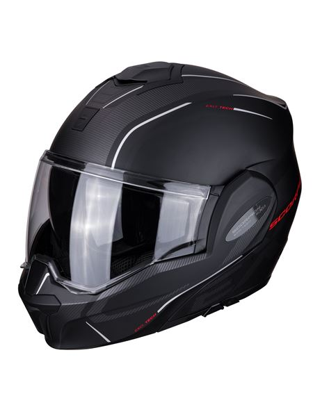 Casco scorpion exo-tech time off negro-rojo - EXO-TECH-TIME-OFF-MATT-BLACK-1