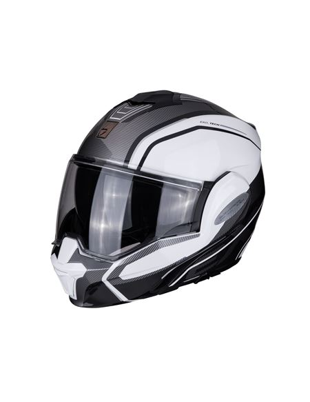 Casco scorpion exo-tech time off blanco-plata - EXO-TECH-TIME-OFF-5
