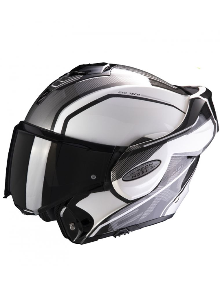 CASCO SCORPION EXO TECH TIME OFF BLANCO PLATA