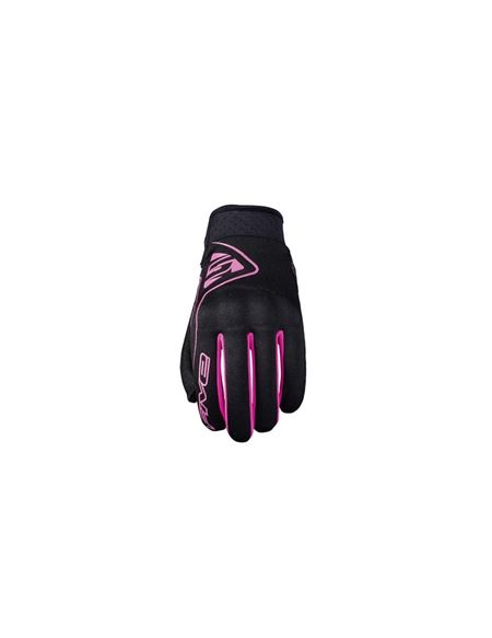 Guante five globe woman negro-rosa