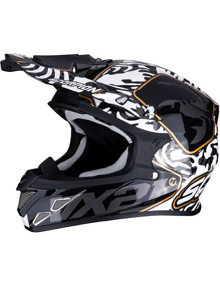 Casco scorpion vx-21 air gnarly negro - blanco - 046071279275#NEGRO-BLANCO(1)