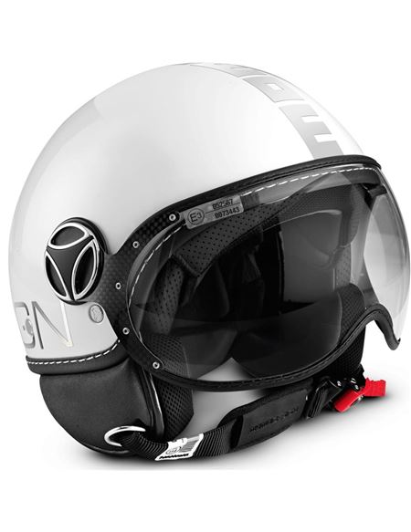 Casco momo fighter blanco letra cromada
