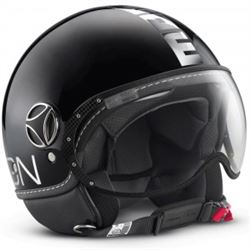 Casco momo fighter negro brillo letra cromo - CASCO-MOMO-FIGHTERCROMO