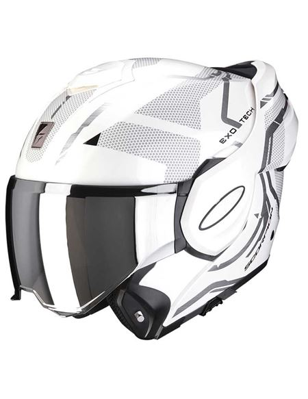 Casco scorpion exo-tech square blanco perla/plata - 046071282135 (2)