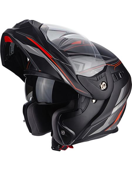 Casco scorpion adx-1 anima negro mate-rojo