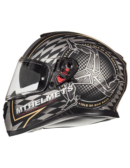 Casco mt thunder 3 isle of man negro mate- oro - ISLEOFMAN-GRIS1